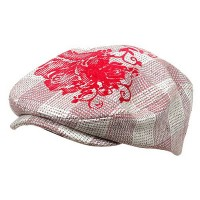 Ivy - Pink Flower Checkered Ivy Hat