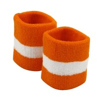 Band - Orange White Stripe Terry Wristb, Pair