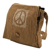 Bag - Brown Camel Brown Cotton Stripe Peace Bag