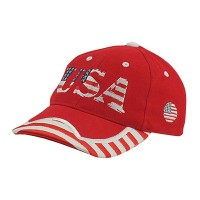 Embroidered Cap - Red White Youth Flag Cap