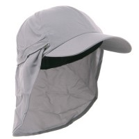 Flap Cap - Grey Zippered Micro Fiber Flap Cap