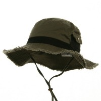 Outdoor - Olive Black Washed Frayed Bucket Hats