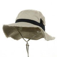 Outdoor - Putty Navy Washed Frayed Bucket Hats