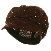 Newsboy - Brown Glitter Newsboy Cap