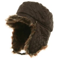 Trooper - Brown Quilted Trooper Hat with Fur