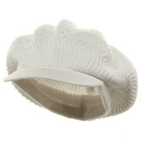 Beanie Visored - White Rasta Plain Hat (ny 6)