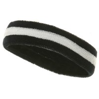 Band - Navy White Terry Color Stripe Headband