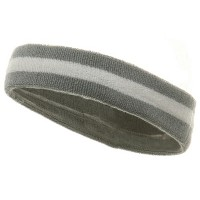 Band - Grey White Terry Color Stripe Headband