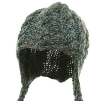 Beanie - Blue Wool Blend Youth Cable Helmet Hat