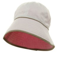 Bucket - White Pink UV Ladies Reversible Terry Hat