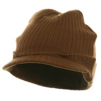 Beanie Visored - Brown Cotton Polyester Knit Visor