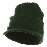 Beanie Visored - Green Cotton Polyester Knit Visor
