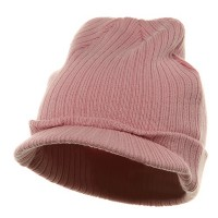 Beanie Visored - Pink Cotton Polyester Knit Visor