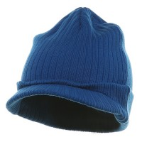 Beanie Visored - Royal Cotton Polyester Knit Visor