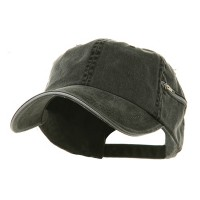 Ball Cap - Black White Low Washed Zipper Pocket Cap