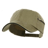 Ball Cap - Khaki Navy Low Washed Zipper Pocket Cap