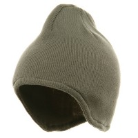 Beanie - Grey Acrylic Fleece Ear Flap Knit Beanies