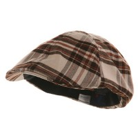 Ivy - Khaki Brown Plaid Design Ivy Cap