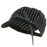 Newsboy - Black Ladies Stripe Newsboy Hat