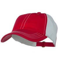 Ball Cap - Red White Unstructured Cotton Twill Mesh Cap