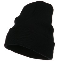 Beanie - Black Big Size Acrylic Long Beanies