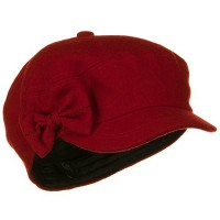 Newsboy - Red Bow 6 Panels Wool Newsboy Hat