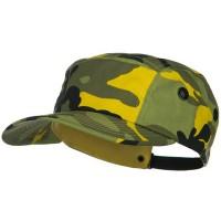 Ball Cap - Yellow 5 Panel Camouflage Twill Cap