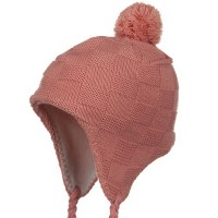 Beanie - Peach Checker Design Knit Hat