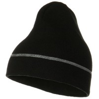 Beanie - Black Contrast Stitched Solid Beanie