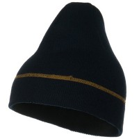 Beanie - Navy Contrast Stitched Solid Beanie