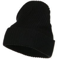 Beanie - Black Ribbed Cuff Cotton Beanie | Coupon Free | e4Hats.com