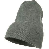 Beanie - Grey Big Stretch Plain Short Beanie | Coupon Free | e4Hats.com