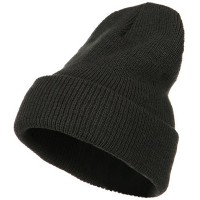 Beanie - Charcoal Stretch Heavy Wool Cuff Beanie | Coupon Free | e4Hats.com