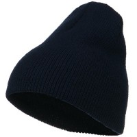 Beanie - Navy Stretch Heavy Wool Short Beanie | Coupon Free | e4Hats.com