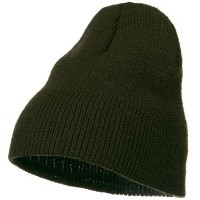 Beanie - Olive Stretch Heavy Wool Short Beanie | Coupon Free | e4Hats.com