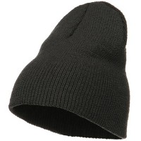 Beanie - Charcoal Stretch Heavy Wool Short Beanie