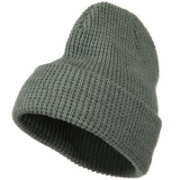 Beanie - Grey Big Stretch Waffle Stitch Beanie