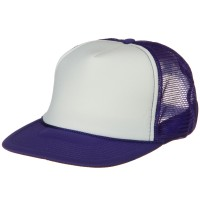 Ball Cap - White Purple Foam Mesh Trucker Cap