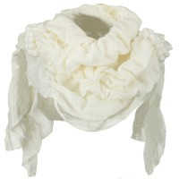Scarf, Shawl - Ivory Scarf with Pompom