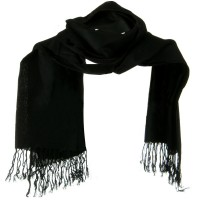 Scarf, Shawl - Black Solid ML Pashmina Silk Scarf