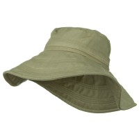 Dressy - Khaki Wide Brim Ladies Linen Hat