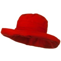 Outdoor - Red UPF 50+ Canvas Large Brim Tie Hat