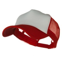Ball Cap - White Red Big Size Foam Mesh Truck Cap