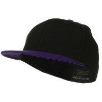Ball Cap - Black Purple Wool Blend Flat Visor Fitted Cap