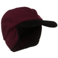 Trooper - Wine Oversize Fleece Warmer Cap