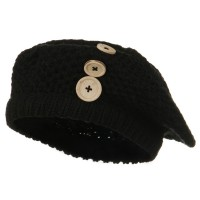 Beret - Black Wood Button Knit Beret