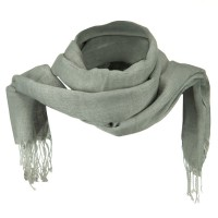 Scarf, Shawl - Grey Cotton Linen Blend Long Scarf