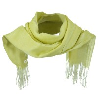 Scarf, Shawl - Yellow Cotton Linen Blend Long Scarf