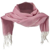 Scarf, Shawl - Pink Cotton Linen Blend Long Scarf
