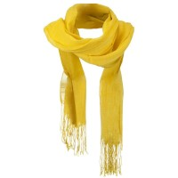 Scarf, Shawl - Yellow Solid Viscose Long Scarf